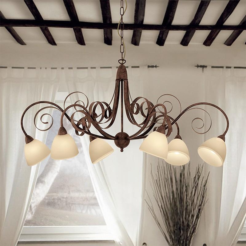 1750/6 lam | Lampadario Ferro tavolo da Pranzo Stile Rustico Classico