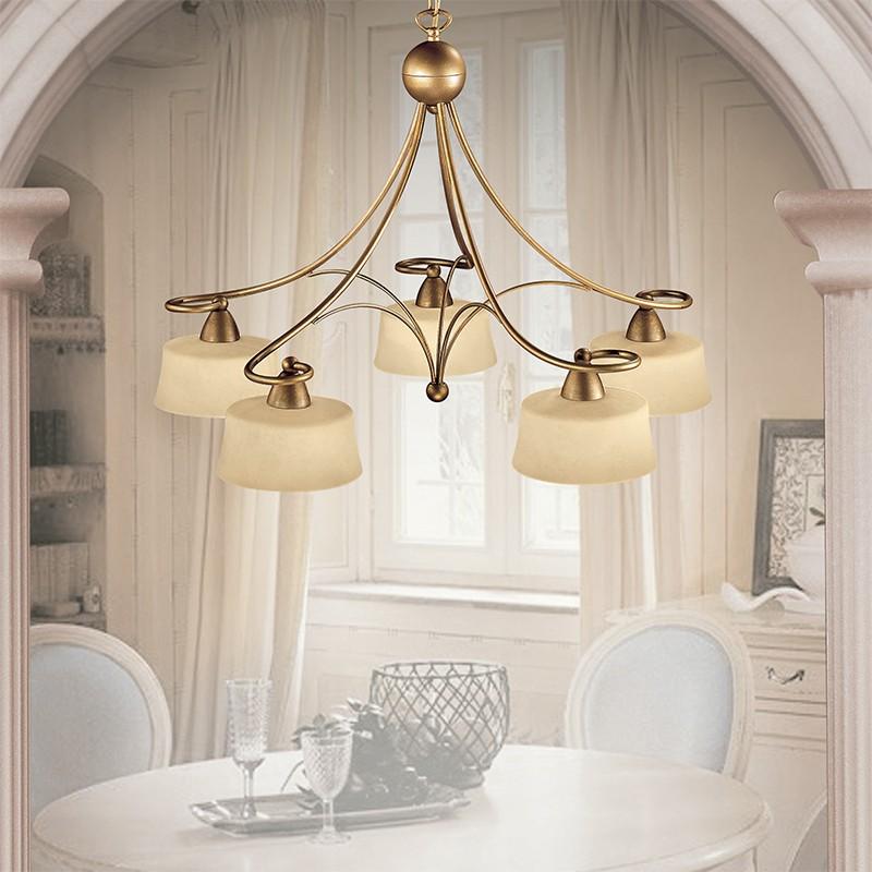 Lampadari Da Sala.Asolo Lampadario 5 Luci Stile Rustico Classico