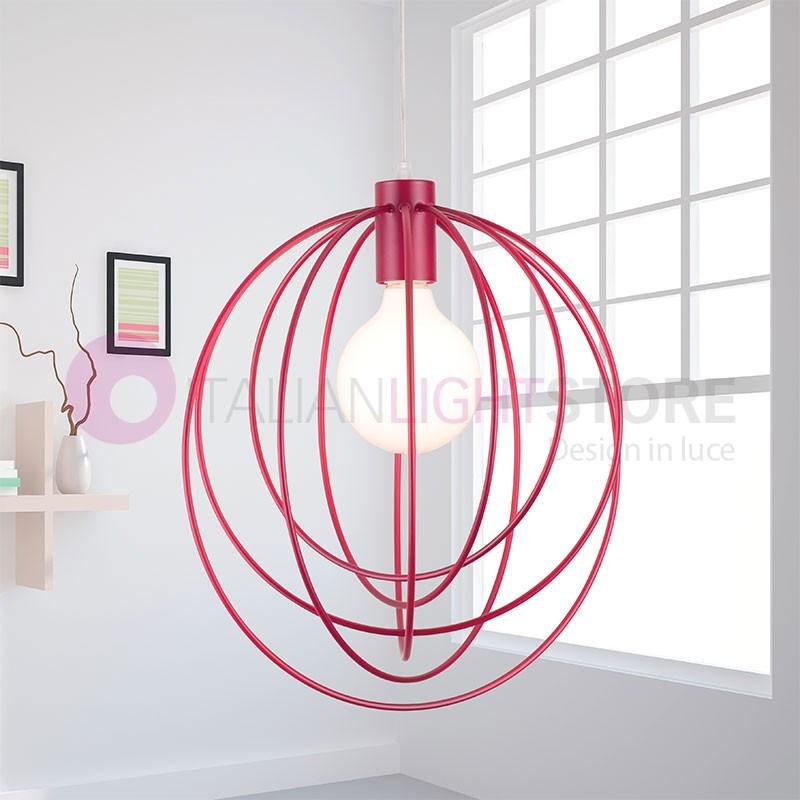 MORGANA Lampada Sospensione Gabbia Colorata Design Moderno
