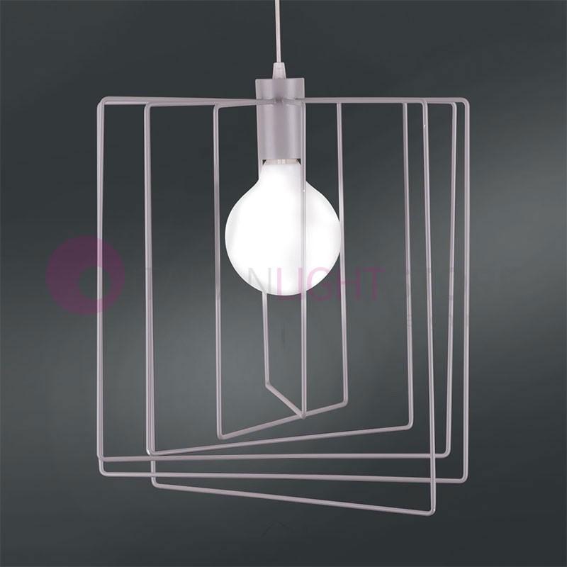 MORGANA Lampada Sospensione Gabbia Quadrata Design Moderno Vintage