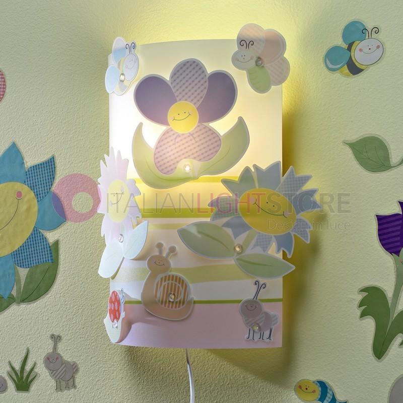 Fiori simpatica applique lampada parete cameretta bambino for Applique camera bambini