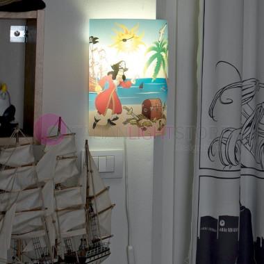 Veliero pirati illuminazione lampadario camera cameretta for Applique camera bambini