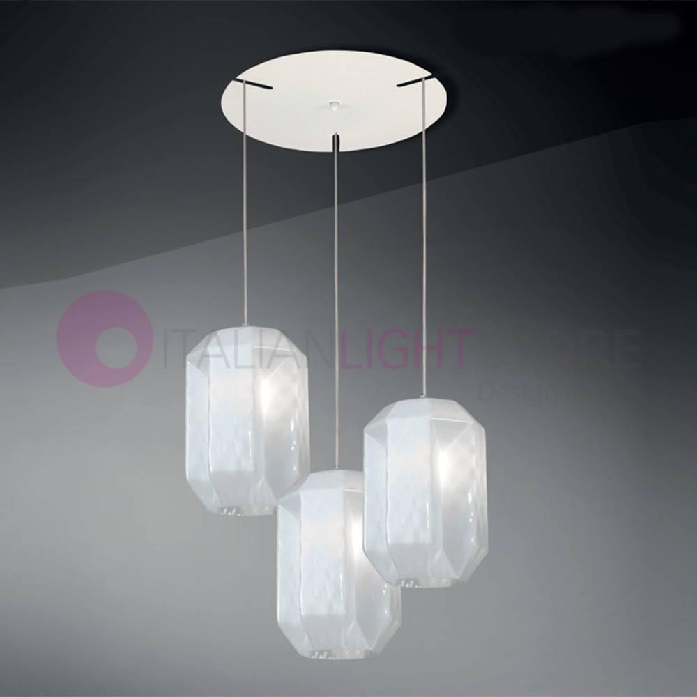 Lampadari Con Bottiglie Di Vetro prysma lampada a sospensione moderna 3 luci in vetro soffiato