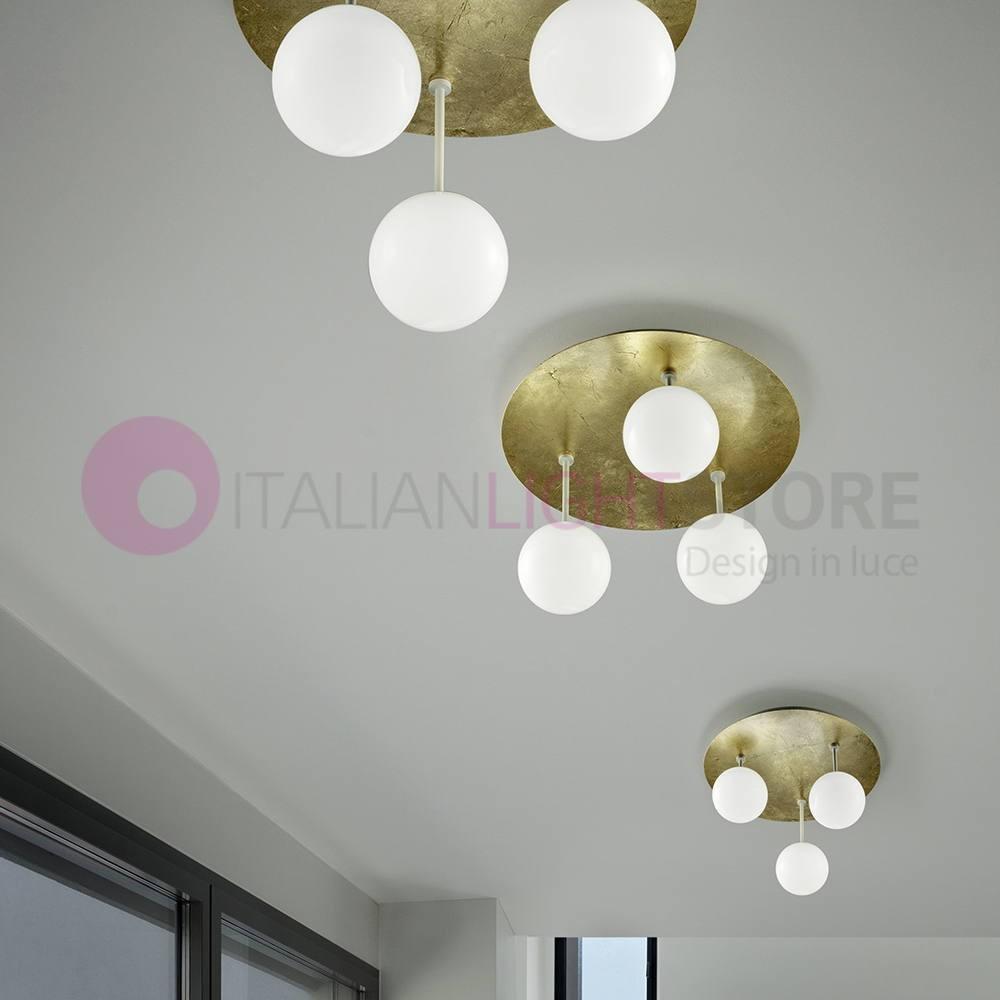 Sfera Plafoniera Led Moderna 2108pl3 Vetri Bianchi Braga Illuminazione