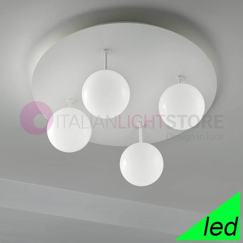 Sfera Plafoniera Led Moderna 2108pl4 Vetri Bianchi Braga Illuminazione