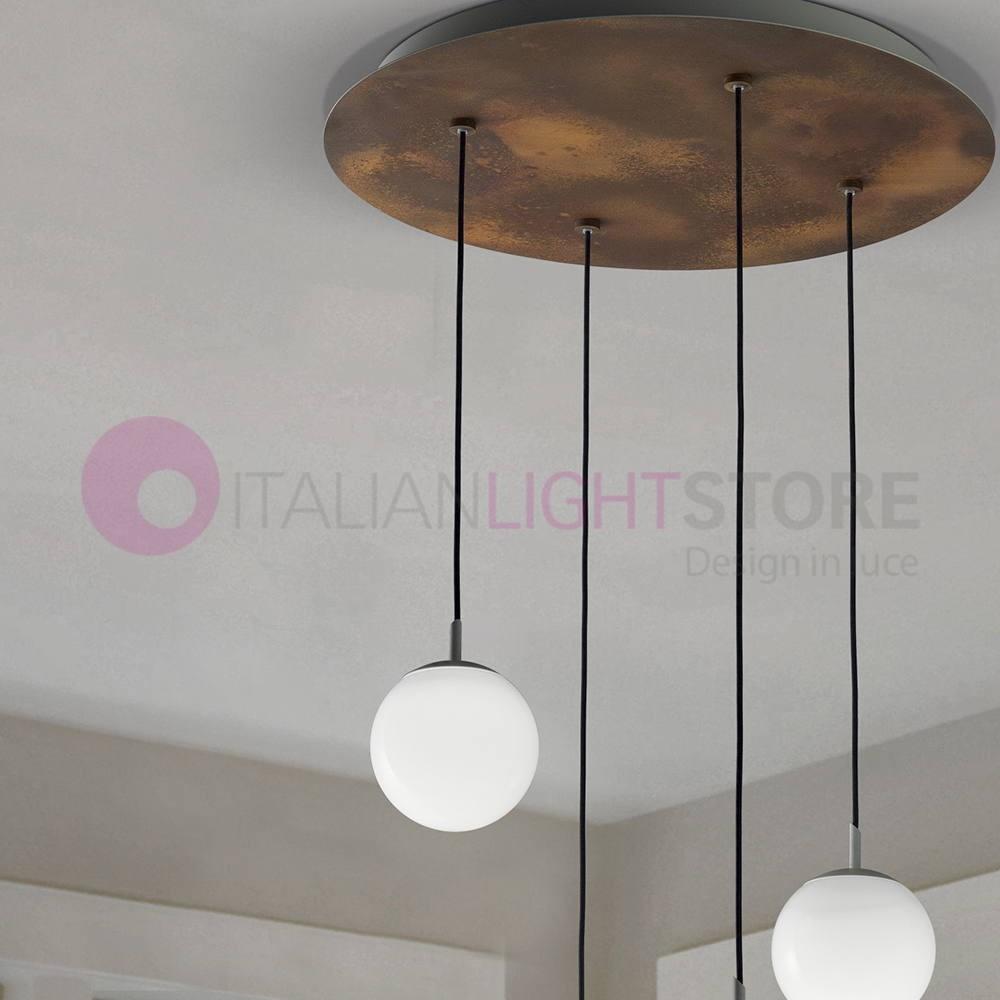 Sfera Lampadario Led Moderno 2108s4 Vetri Bianchi Braga Illuminazione