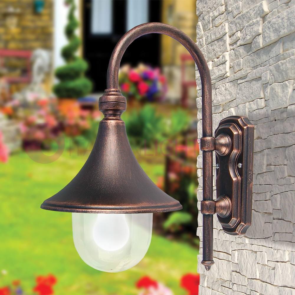 Vetro muro esterno illuminazione da giardino Classico Cortile Terrazzo Veranda LAMPADE NERO