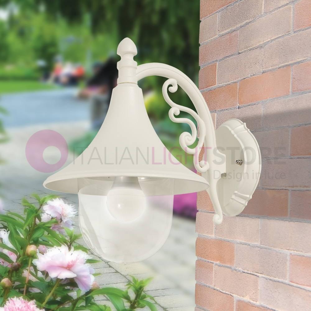 Lampade Per Porticati Esterni dione bianco lanterna a parete lampada per esterno classica bianca