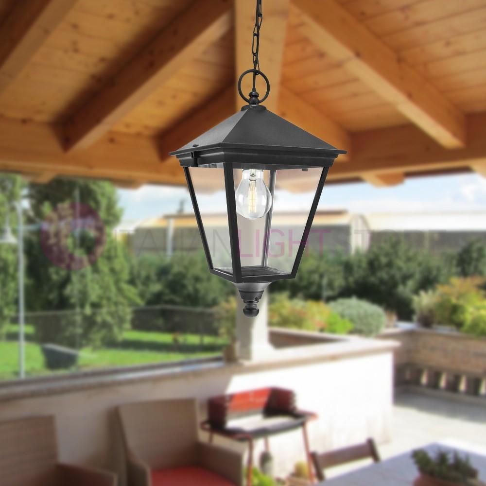 Luci Per Tettoia In Legno london lanterna a sospensione quadrata da esterno