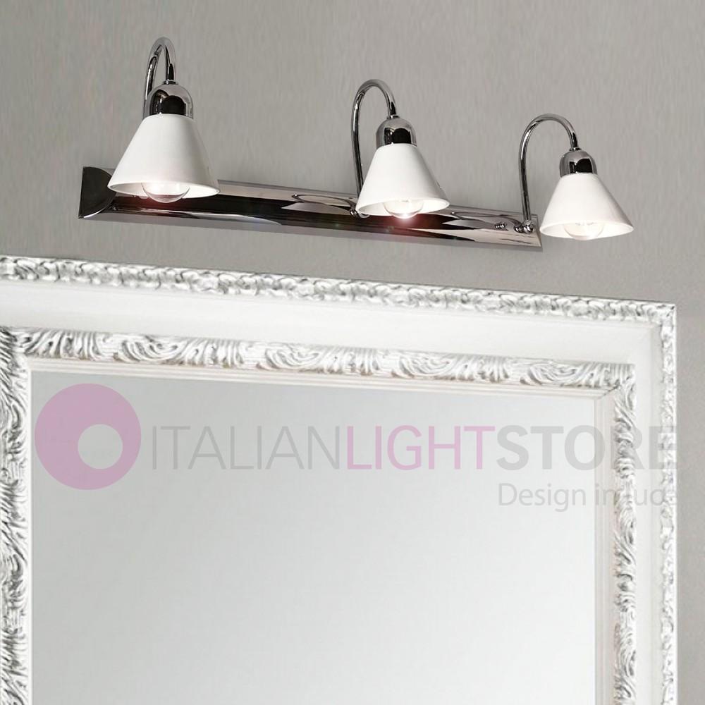 Specchio Luce Bagno.Lampada Da Specchio Specchiera Bagno Applique Cromo Ceramica Bianca