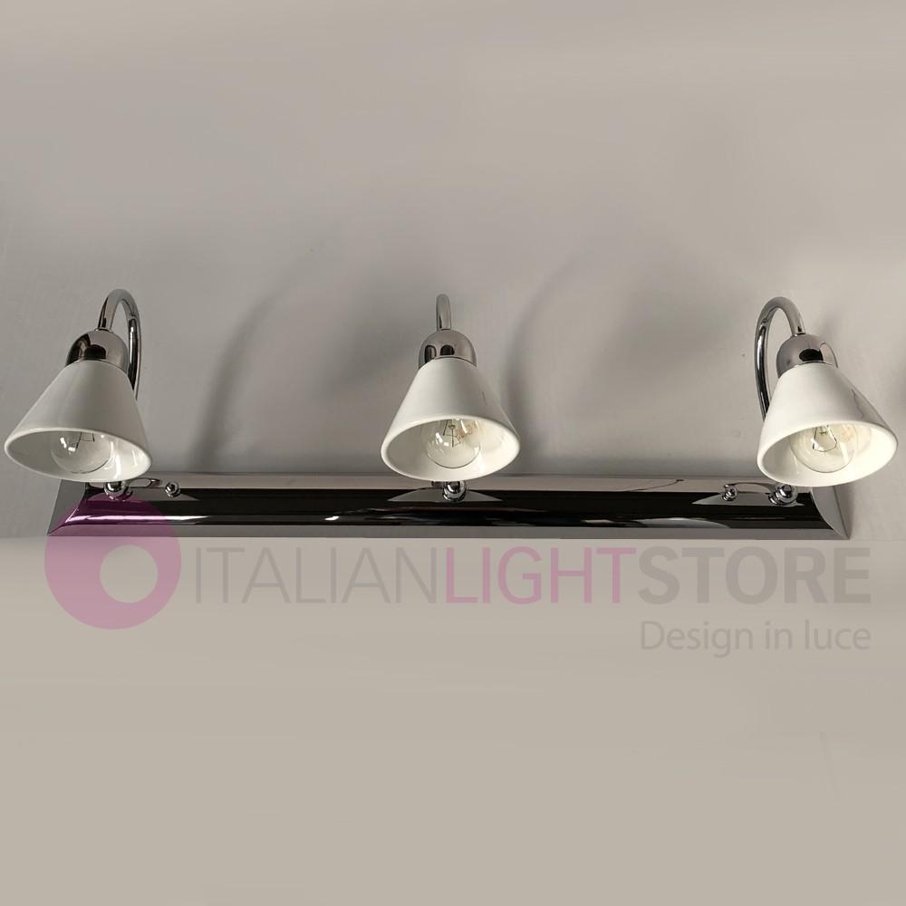 Applique Specchio Bagno Moderno dea applique da specchio a 3 luci ceramica bianca