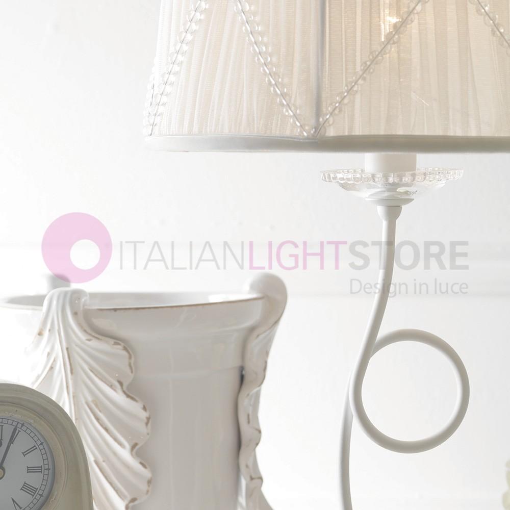 Paris Lampada Comodino H64 Shabby Chic Bianco Perla Paralume Febo Light